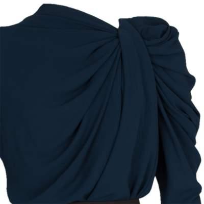 Pleated Neckline Knee-Lenght Dress-7