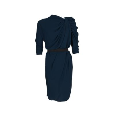 Pleated Neckline Knee-Lenght Dress-0