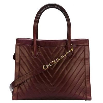 Vintage Chanel Bordeaux Lamb Skin Tote Bag-0