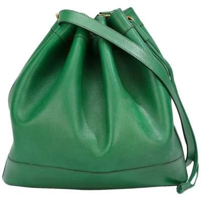 Vintage Green Leather Hermes Market Bucket Bag-0