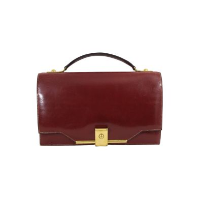 Vintage Burgundy Leather Clutch-0
