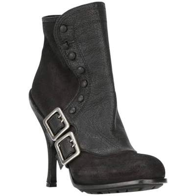 Black Leather Buckled Booties -0