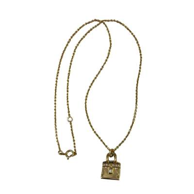 Vintage 18K Yellow Gold Birkin Bag Pendant Necklace with Diamonds-0