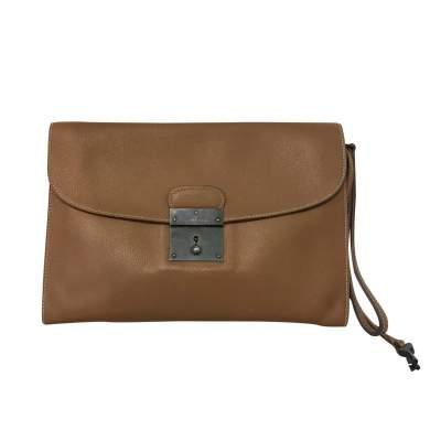 Vintage Camel  Leather Clutch-0