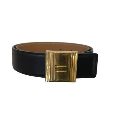 Reversible vintage Black/ Beige Belt with Gold Buckle-0
