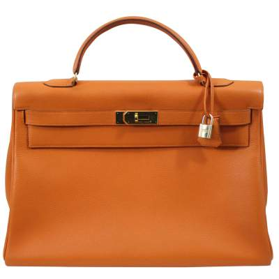 1999 Kelly 40 Vintage Orange Togo Bag with Golden Hardware.-0