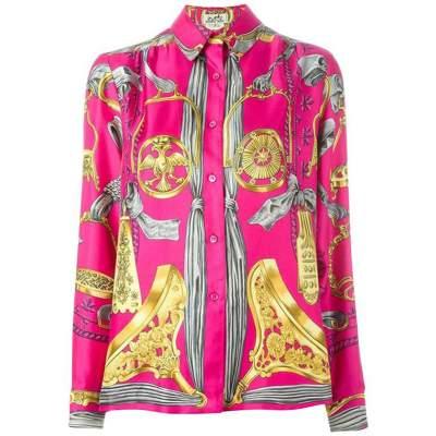 Pink  Baroque Silk Print Shirt-0
