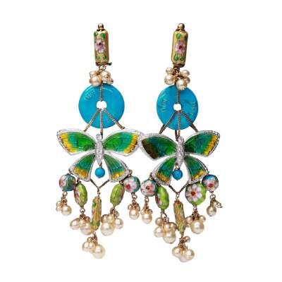Asian-inspired drop clip-on earrings, 2006-0