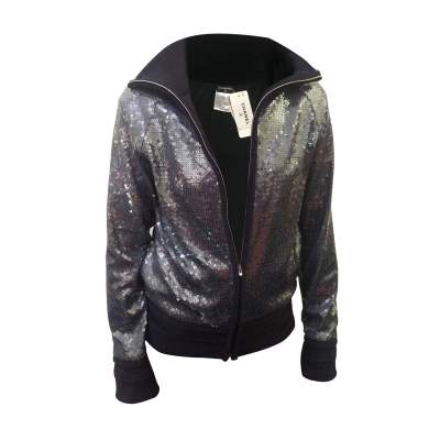 Blue sequin bomber W/terrycloth details-0