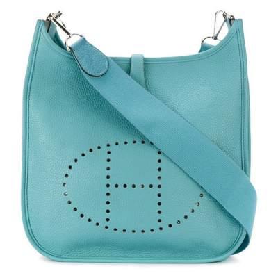 Vintage Turquoise Calf Leather Evelyne PM Size Shoulder Bag-0