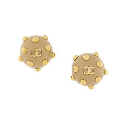 2000s Chanel Camel Embellished Clip On Earrings-0