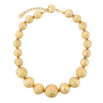 Gold Vintage Tone Beaded Necklace-0