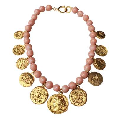 Pink vintage beads choker with medallions, 1980s-0