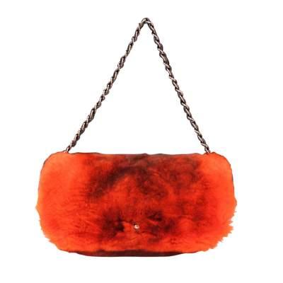 Rectangular bag in orange red Rex rabbit fur, 2000s-0