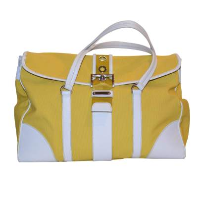 Yellow canvas and white leather Bag-1