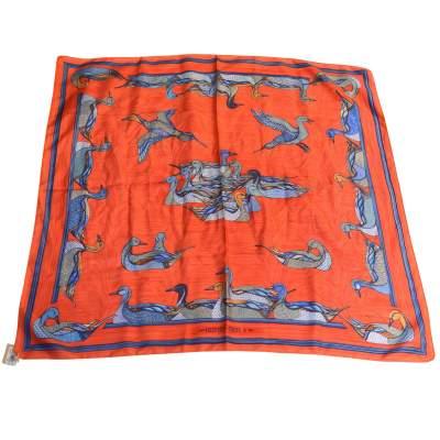 Vintage Silk Scarf  La mare aux canards 1980-0