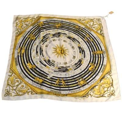 Vintage Scarf astrology  Francoise Faconnet -0