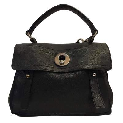 Black leather hand bag-1