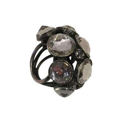 Very nice Ring in metal and rhinestones-3