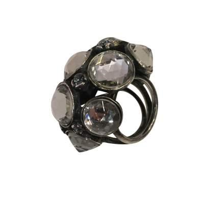 Very nice Ring in metal and rhinestones-5