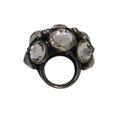Very nice Ring in metal and rhinestones-0
