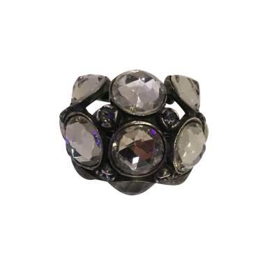 Very nice Ring in metal and rhinestones-7