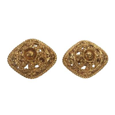 Vintage diamond shaped clip Earrings-0