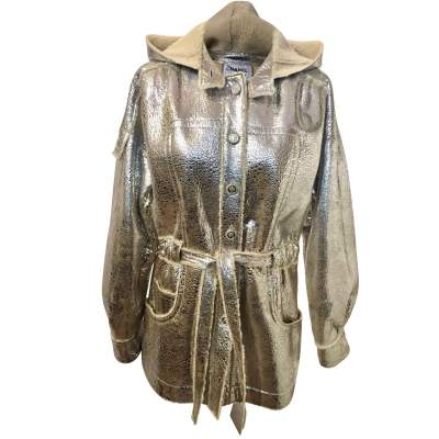 Silver lamb leather Jacket-0