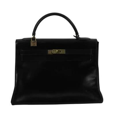 Vintage Black Leather Hermes Kelly 32-0