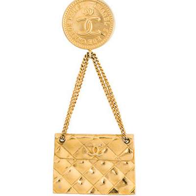 2005s Chanel Gold Tone Handbag Brooch-0