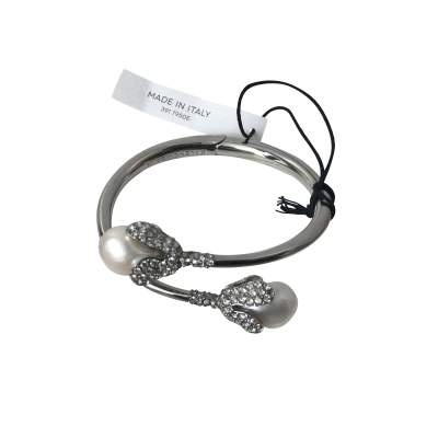 Holiday Collection silver-tone, pearl and crystal bracelet-7
