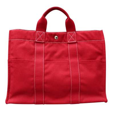 "Hermès red canvas ""Toto"" bag-0"