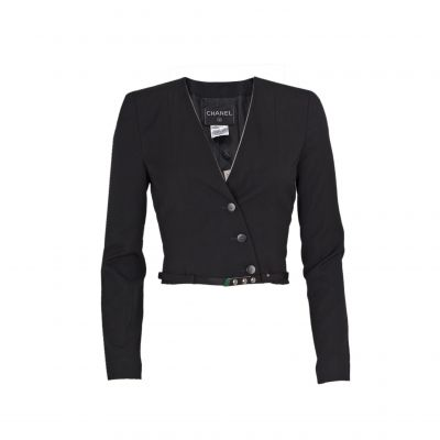 Short cross fastening wool Jacket -0