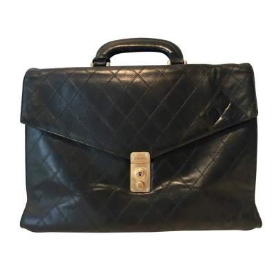 Black leather Briefcase-0