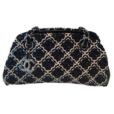 White and black braided Bag-0