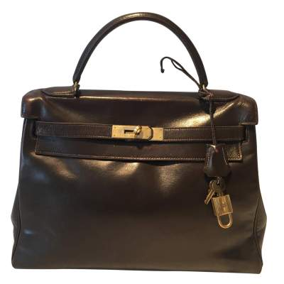 Kelly Bag in brown leather vintage 1970-0