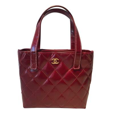 Red quilted vinyl Bag-0