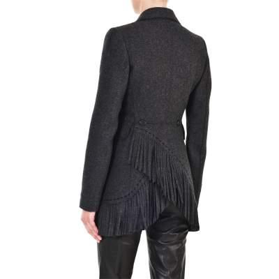 Mid length fringed wool Jacket -9