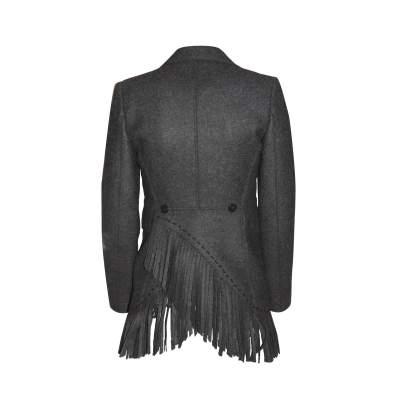 Mid length fringed wool Jacket -3