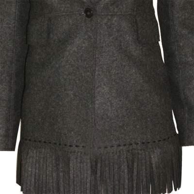 Mid length fringed wool Jacket -7