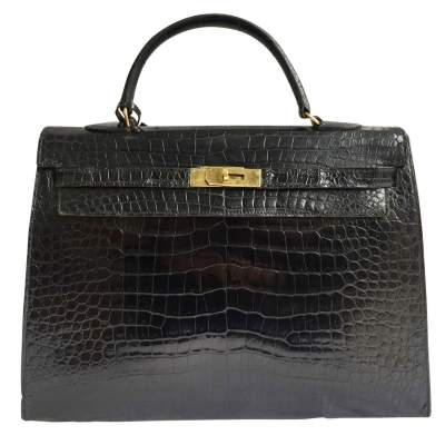Vintage black crocodile Kelly Bag-0