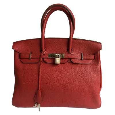 Red Garance  leather Birkin Bag-0