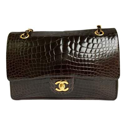 Brown crocodile timeless Bag-0