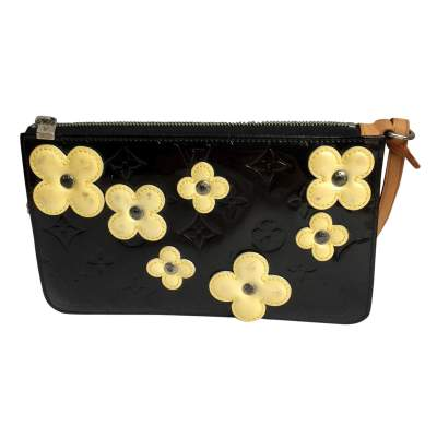 Black patent  Flowers Clutch-0