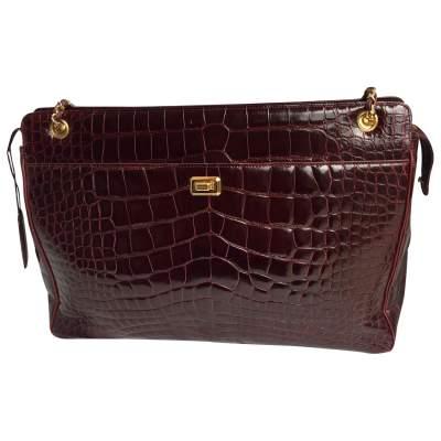 Burgundy crocodile Bag-0