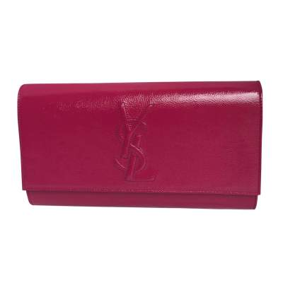 Raspberry pink patent leather Clutch-0