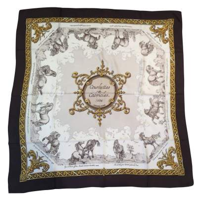 "Collector Silk scarf ""Courbettes & Cabrioles"" -0"