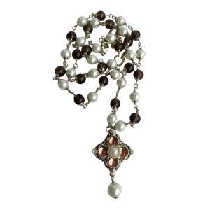 Necklace in pearl, amber and silver metal-0