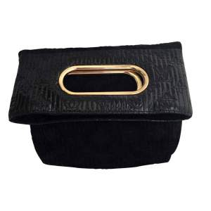 Black suede patent leather Clutch-0