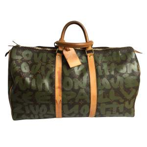 Keepall travel bag in green printed monogrammed Canvas-0